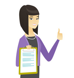 asian business woman showing clipboard vector image