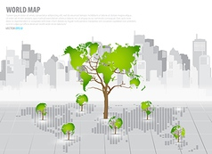 Green economy concept Tree shaped world map with vector image