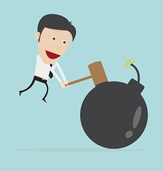 Businessman use hammer hit bomb vector