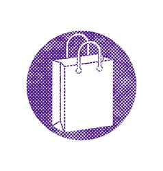 Shopping bag icon with pixel print halftone dots vector