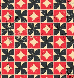 Vintage bright red and black geometric seamless vector