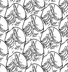Pineapple peel seamless background sketch black vector