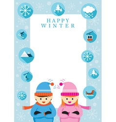 Boy and girl in winter season frame vector