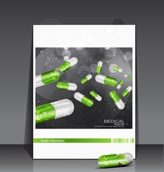 Booklet medical theme with pills vector