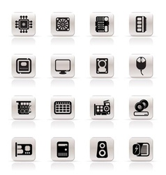 simple computer performance and equipment icons vector image
