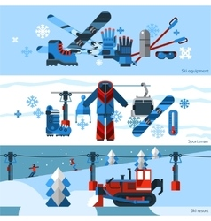 Three flat horizontal skiing banners vector