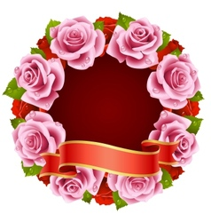 Pink Rose Frame vector image