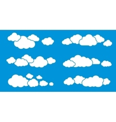 Clouds isolated on blue clouds collection vector