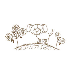 Brown contour graphic of dog in hill with plants vector