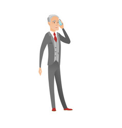 Caucasian businessman talking on a mobile phone vector