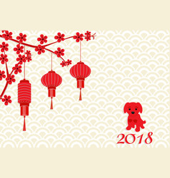 chinese new year 2018 year of the dog red vector image vector image