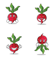 collection of radish character cartoon style set vector image vector image