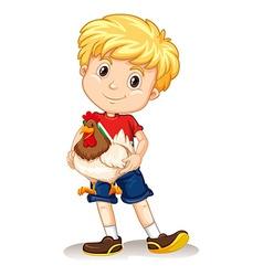 Cute boy holding a chicken vector image vector image