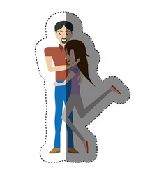 Funny couple romantic image shadow vector