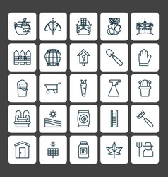 Gardening icons set collection of maple sweet vector