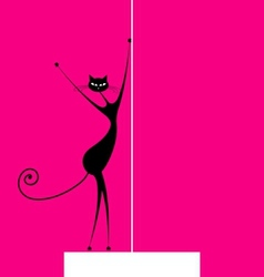 Graceful cat dancing for your design vector image vector image