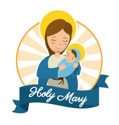 Holy mary baby jesus catholic statue image vector