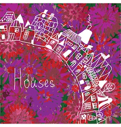 Houses silhouette on the floral background vector image vector image