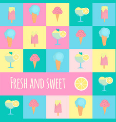 ice cream icons in flat style vector image