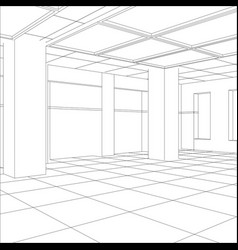 Interior office outlined tracing of vector