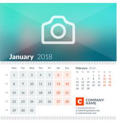 january 2018 calendar for 2018 year week starts vector image vector image