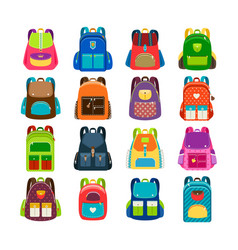 Kids cartoon schoolbag set vector