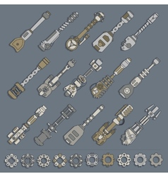 large set of weapons and gears vector image