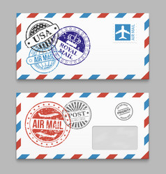 letters design - envelopes with grunge style vector image vector image