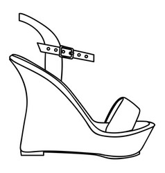 monochrome silhouette of sandal shoe with platform vector image vector image