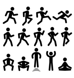 people figures in motion running walking vector image