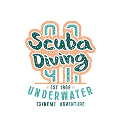 Scuba diving emblem in retro style extreme vector