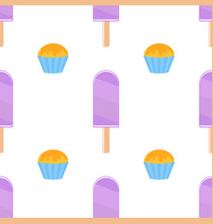 Seamless pattern of flat purple popsicles vector