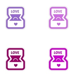 Set of paper stickers on white background ring in vector