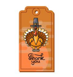 thank you cartoon turkey in pilgrim hat vector image vector image
