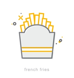 Thin line icons french fries vector