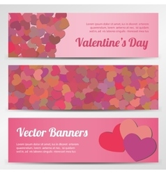 Valentines Day horizontal banners on blue vector image