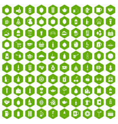 100 beverage icons hexagon green vector