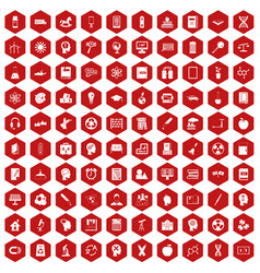 100 education icons hexagon red vector