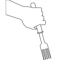 Hand holding fork icon vector