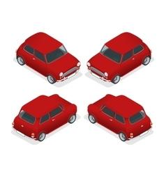 Isometric mini car model closeup vector