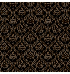 Seamless Damask Wallpaper 3 Black Golden Color vector image
