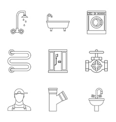 Sanitary appliances icons set outline style vector