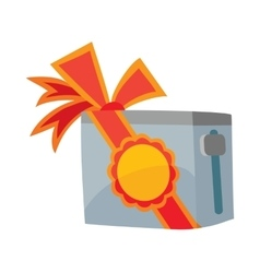 Toaster with red sale label and bow isolated vector
