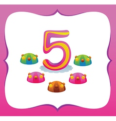 Collection sweet numbers for kids 5 vector