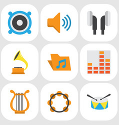 multimedia flat icons set collection of vector image