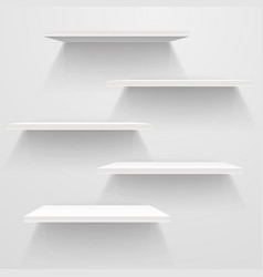 White empty shelves on white wall mockup vector