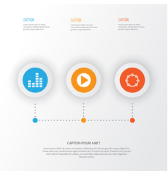 Music icons set collection of equalizer start vector