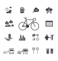 The benefits of the cyclist bicycle icons set vector