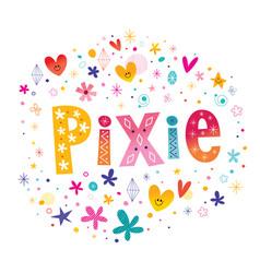 Pixie girls name vector