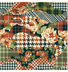 Houndstooth tartan and roses fabric patchwork vector